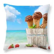 Chocolate Icecreams Throw Pillow by Amanda Elwell