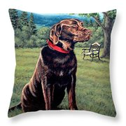 Chocolate Lab Throw Pillow by Richard De Wolfe