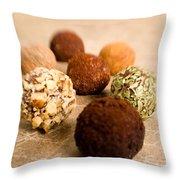 Chocolate Truffles On Gold Throw Pillow