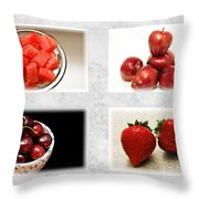 Choice Of Fruit 4 X 4 Collage 1 - Fruit Market Throw Pillow