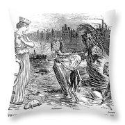 Cholera Cartoon, 1858 Throw Pillow