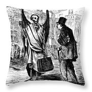 Cholera In Slums, 1866 Throw Pillow