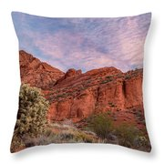 Cholla Cactus And Red Rocks At Sunrise Throw Pillow