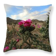 Cholla Cactus Blooming In The Sandia Foothills Throw Pillow