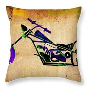 Chopper Motorcycle Painting Throw Pillow