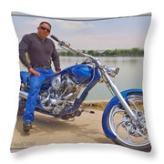 Chopper Motorcycle Throw Pillow