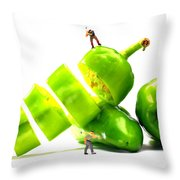 Chopping Green Peppers Little People Big Worlds Throw Pillow