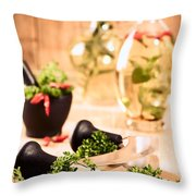 Chopping Herbs Throw Pillow by Amanda Elwell