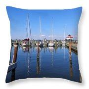 Choptank River Marina Throw Pillow