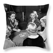 Chorus Girls Playing Hearts Throw Pillow