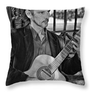 Chris Craig - New Orleans Musician Bw Throw Pillow