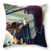 Chrissie Hynde Acoustic By Denise Dube Throw Pillow