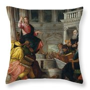 Christ Among The Doctors In The Temple Throw Pillow