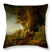 Christ And St Mary Magdalen At The Tomb Throw Pillow