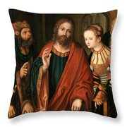 Christ And The Adulteress Throw Pillow