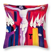 Christ And The Politicians Throw Pillow by Laila Shawa