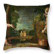Christ And The Samaritan Woman At The Well Throw Pillow