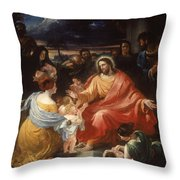 Christ Blessing The Little Children Throw Pillow