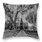 Christ Church Etching Throw Pillow by Debra and Dave Vanderlaan