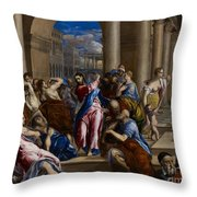 Christ Driving The Money Changers From The Temple Throw Pillow by El Greco