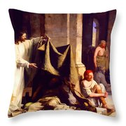 Christ Healing The Sick  Throw Pillow