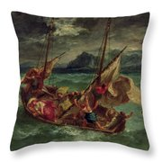 Christ On The Sea Of Galilee Throw Pillow by Delacroix