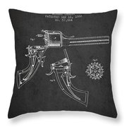 Christ Revolver Patent Drawing From 1866 - Dark Throw Pillow