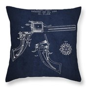 Christ Revolver Patent Drawing From 1866 - Navy Blue Throw Pillow
