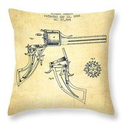 Christ Revolver Patent Drawing From 1866 - Vintage Throw Pillow