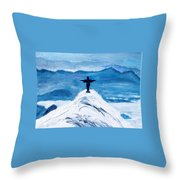 Christ Statue In Rio In Blue Throw Pillow