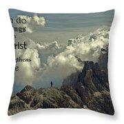 Christ Strengthens Me Throw Pillow