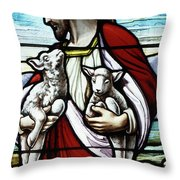 Christ The Good Shepherd With His Flock Throw Pillow