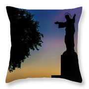 Christ Welcomes Darkness At Sunset Throw Pillow