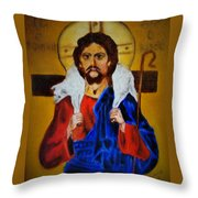 Christ With A Lamb Throw Pillow