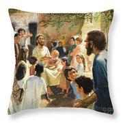 Christ With Children Throw Pillow