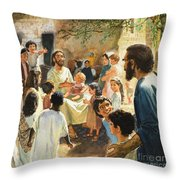 Christ With Children Throw Pillow by Peter Seabright