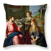 Christ With Mary And Martha Throw Pillow