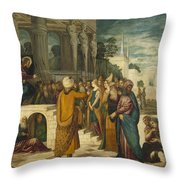 Christ With The Adulterous Woman Throw Pillow