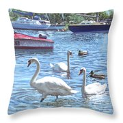 Christchurch Harbour Swans And Boats Throw Pillow by Martin Davey