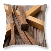 Christian Cross And Rusty Nails Throw Pillow
