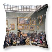Christies Auction Room, Illustration Throw Pillow