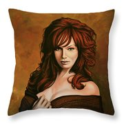 Christina Hendricks Painting Throw Pillow