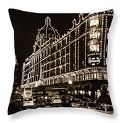 Christmas At Harrods Department Store - London Throw Pillow