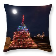 Christmas At Maines Nubble Lighthouse Throw Pillow