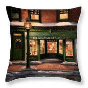 Christmas At The Bookstore Of Gloucester Throw Pillow