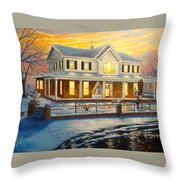 Christmas At The Hibbard's Throw Pillow