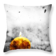 Christmas Ball Candle Lights On Winter Background Throw Pillow