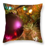 Christmas Ball Ornament Purple 1 Throw Pillow