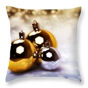 Christmas Balls Gold Silver Throw Pillow