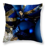 Christmas Blue Throw Pillow